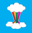 rainbow paper and cloud paper with shadow on blue vector image vector image