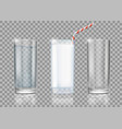 set of drinks glasses with milk water and empty vector image vector image