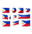 set philippines flags banners banners symbols vector image