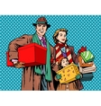 Shopping happy family dad mom girl vector image vector image