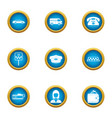 taxi agency icons set flat style vector image vector image