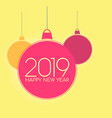 tender red merry christmas balls with 2019 text vector image