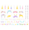unicorn face fairy tale pony head horn eyes ear vector image