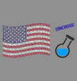 united states flag mosaic chemistry tube and vector image vector image