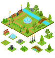 urban park and part set isometric view vector image vector image