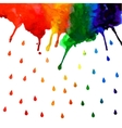 Watercolor rainbow gradient stain with drops vector image vector image
