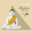 white buddha and yellow robe thailand vector image