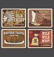 wild west and western retro posters vector image vector image