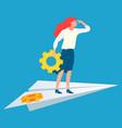 worker with cogwheel business success vector image