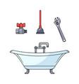 sketch plumbing set vector image