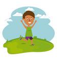 happy boy running in the field vector image