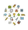 School Round Design Template Thin Line Icon vector image
