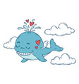 a whale with wings in the sky with hearts vector image vector image