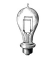 antique engraving bulb lamp black and white vector image vector image