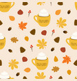autumn pattern cup coffee on leaves vector image