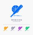 baseball basket ball game fun 5 color glyph web vector image vector image