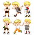 Boy with blond hair in different actions vector image vector image