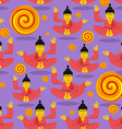 Buddha seamless pattern Seated Buddha in lotus vector image