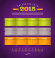 Calendar of 2015 year with holidays vector image vector image