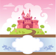 Card With Cartoon Castle vector image vector image