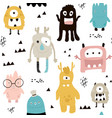 childish seamless pattern with cute monsters vector image vector image