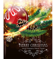 christmas ball with sparkles and fir branches vector image vector image