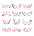 colorful wings line set vector image vector image