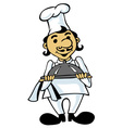 cook with a tray vector image