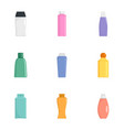 cream bottle icon set flat style vector image