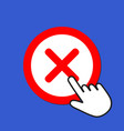 cross icon reject decline concept hand mouse vector image vector image