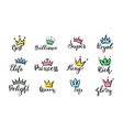 crown hand drawn lettering queen crown icons vector image
