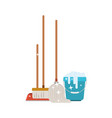 dustpan and broom and mop and bucket with water vector image vector image