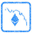ethereum fall chart framed stamp vector image vector image