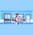 female doctor hold clipboard over hospital waiting vector image vector image