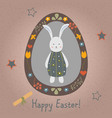 festive easter egg with cute character of bunny vector image vector image