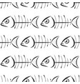 fish bone pattern on white background vector image vector image