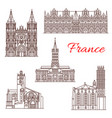 french travel landmark icon of architecture sights vector image vector image