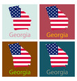 georgia state of america with map flag print on vector image vector image