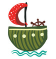 green round boat with red polka dot sail or color vector image vector image