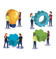 group of people teamwork with electronics devices vector image