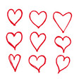 hand drawn hearts icon vector image vector image