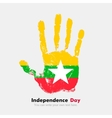 Handprint with the Flag of Myanmar in grunge style vector image vector image