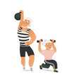 happy old age couple doing exercises vector image