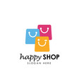 happy shop logo design template shopping logo vector image vector image