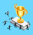 isometric businessmen run to the gold cup vector image vector image