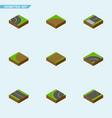 isometric way set of asphalt bitumen flat and vector image vector image