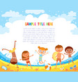 kids have fun jumping on the beach vector image