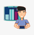 man character with digital device social media vector image