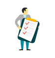 man hold checklist on clipboard vector image vector image