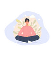 men sitting on floor and meditating in lotus pose vector image vector image